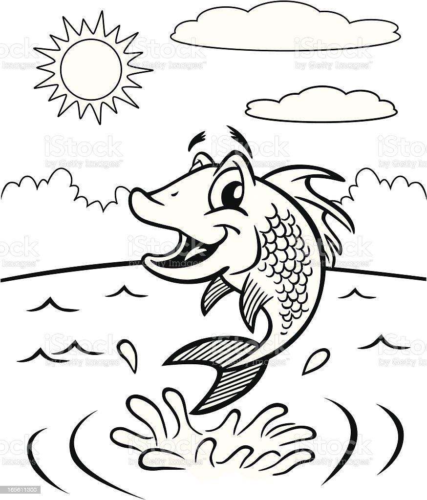 Ilustra o de livro de colorir peixe e mais banco de for Trota da colorare