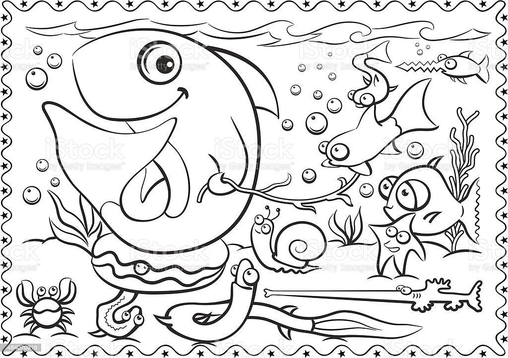 Coloring Book fish vector art illustration