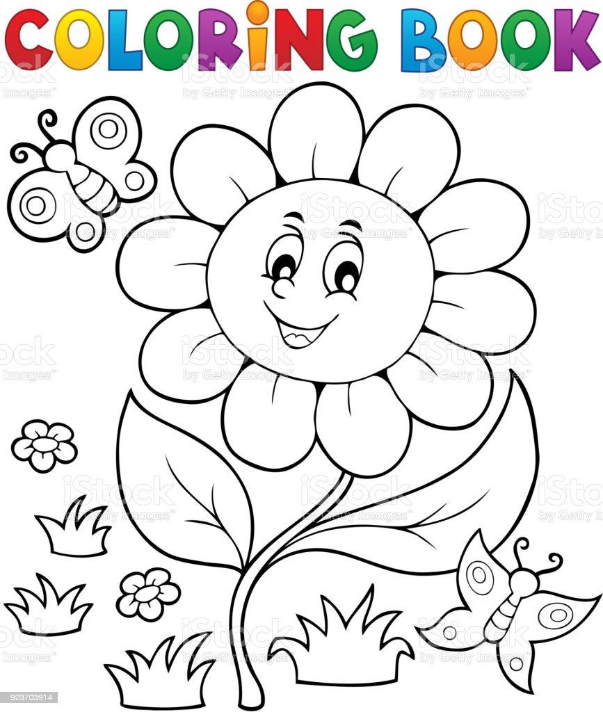 Boyama Kitabı çiçek Konu 6 Stok Vektör Sanatı Ağaç çiçeğinin Daha