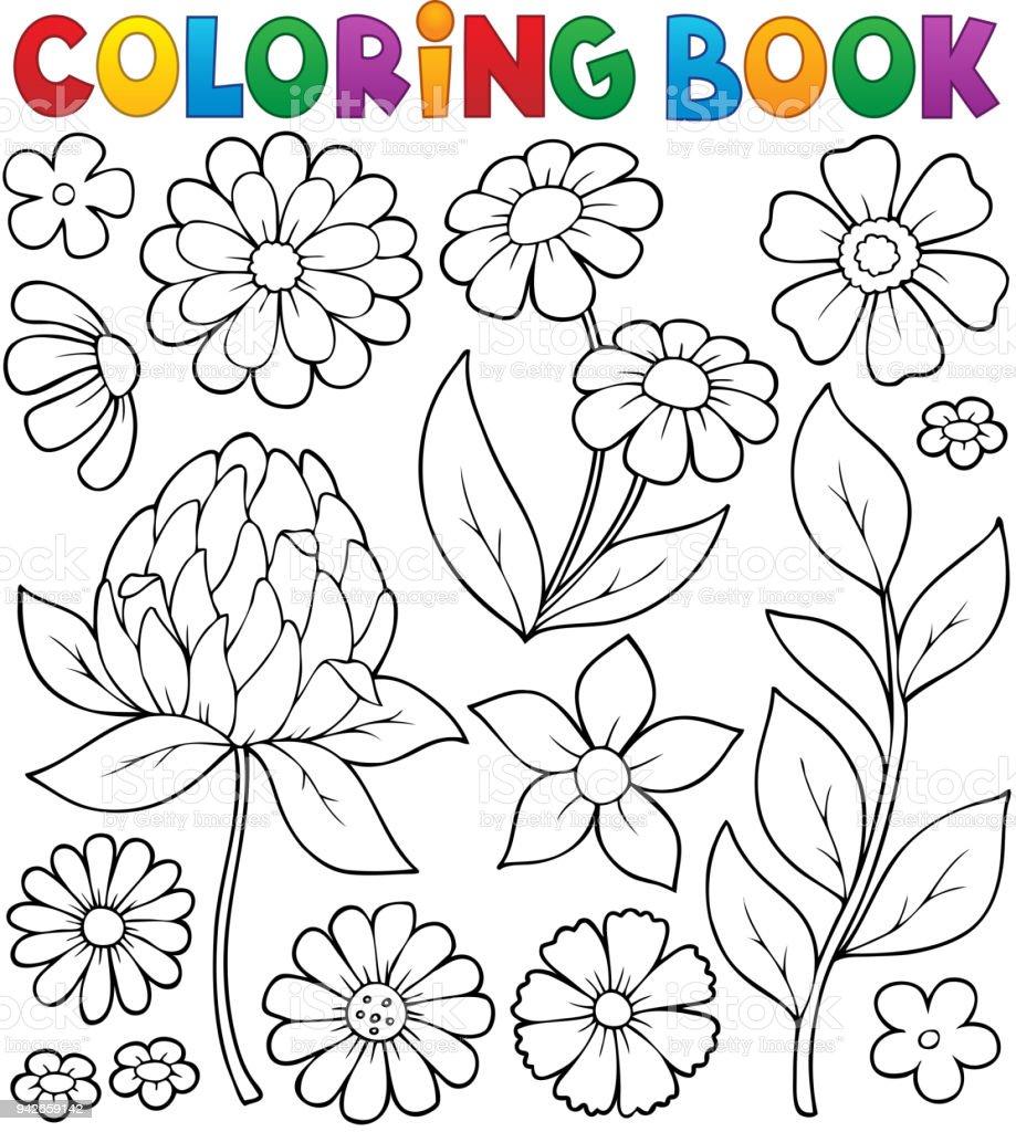 Boyama Kitabı çiçek Konu 8 Stok Vektör Sanatı Ağaç çiçeğinin Daha