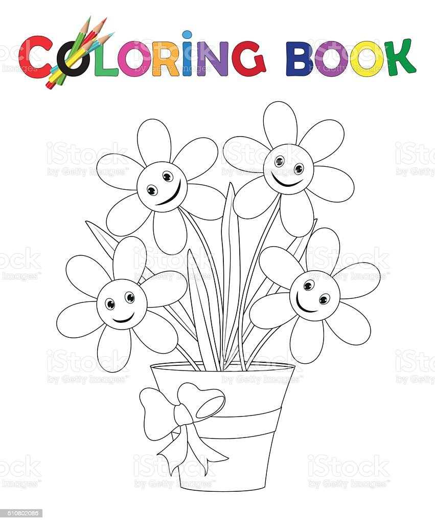 Coloring Book Flowerpot With Flowers And Ribbon Royalty Free Stock Vector Art