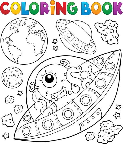 Vectores de planeta tierra para colorear e ilustraciones libres de derechos istock - Dessin extra terrestre ...