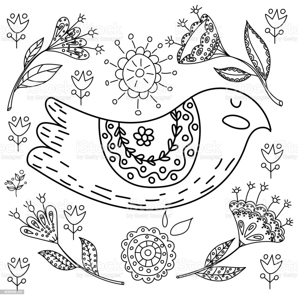 Coloring Book Fol Adults Folk Set Vector Blask And Whit Illustration With Beautiful Birds