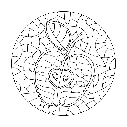 Coloring book for adult and older children. Hand drawn apples on round background . Vector Illustration.