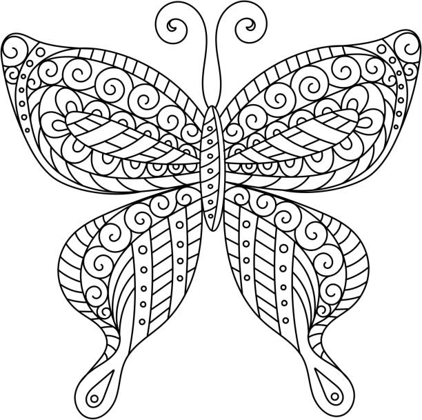 Coloring book for adult and older children.  page. Outline drawing Coloring book for adult and older children. Coloring page. Outline drawing. Decorative butterfly silhouette animal markings stock illustrations