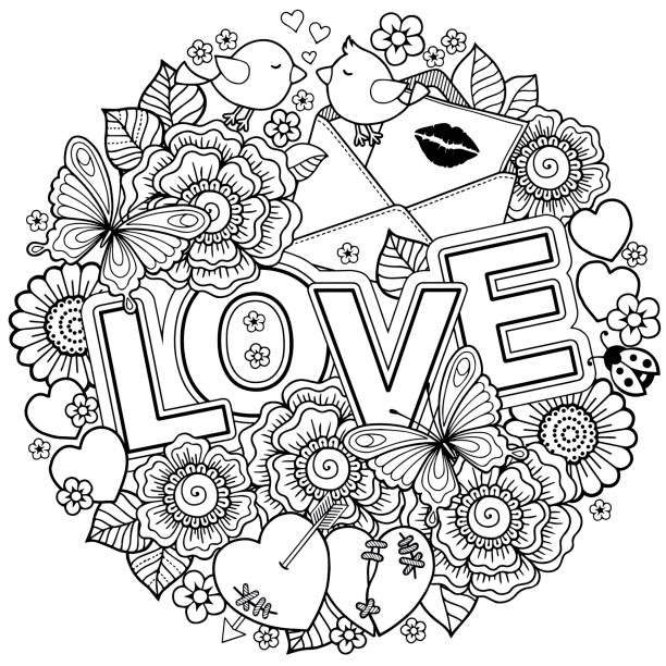 coloring book for adult. design for wedding invitations and valentine's day of abstract flowers, hearts, envelope, arrow, heart, bird, kiss, butterfly - coloring book pages templates stock illustrations