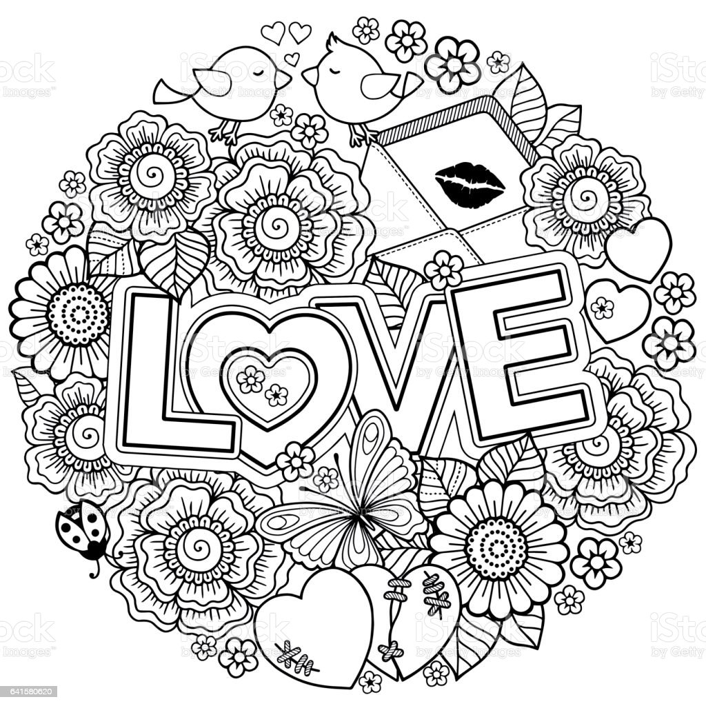 Coloring Book For Adult Design Wedding Invitations And Valentines Day Of Abstract Flowers