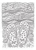 Coloring book for adult. Sea beach. Slippers, sand and shell.