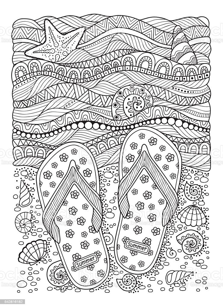 Coloring book for adult. Sea beach. Slippers, sand and shell. vector art illustration