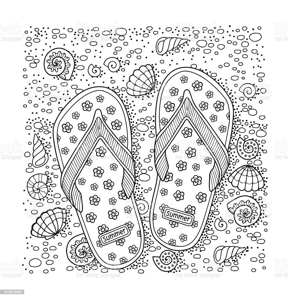 Coloring Book For Adult Sea Beach Slippers Sand And Shell Royalty