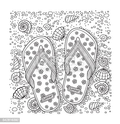 Coloring Book For Adult Sea Beach Slippers Sand And Shell Stock Vector Art 542816392