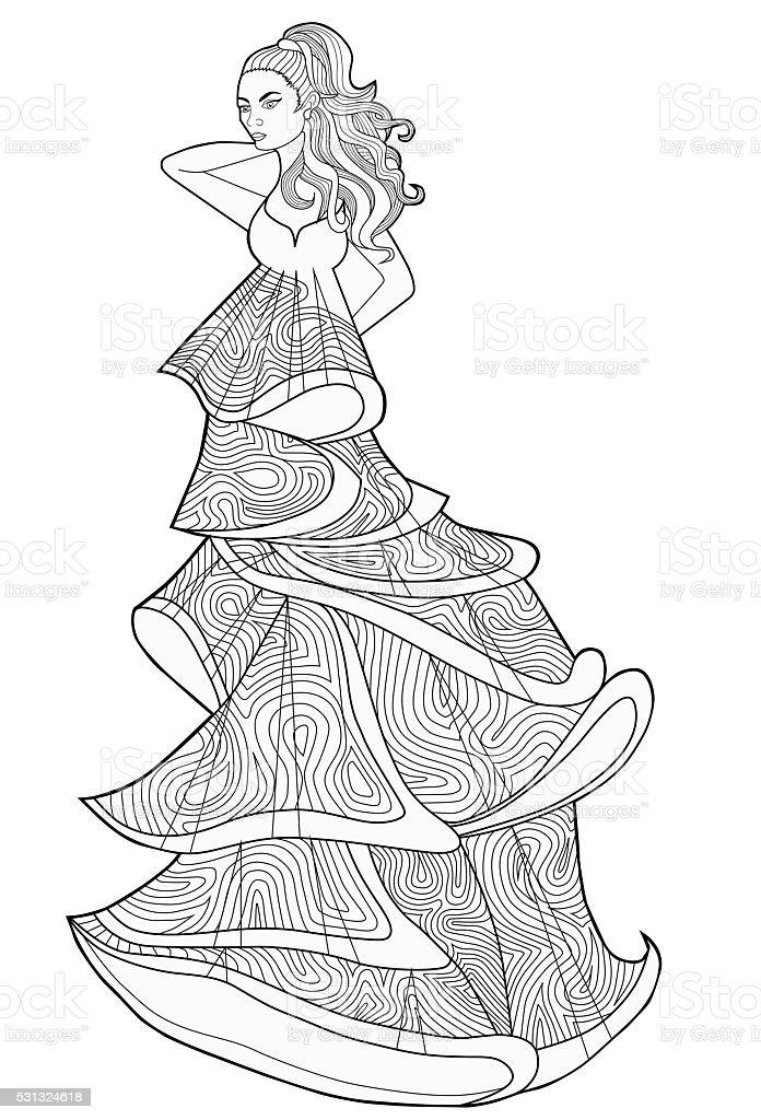 книжкараскраска для взрослых женщина в длинное платье моды