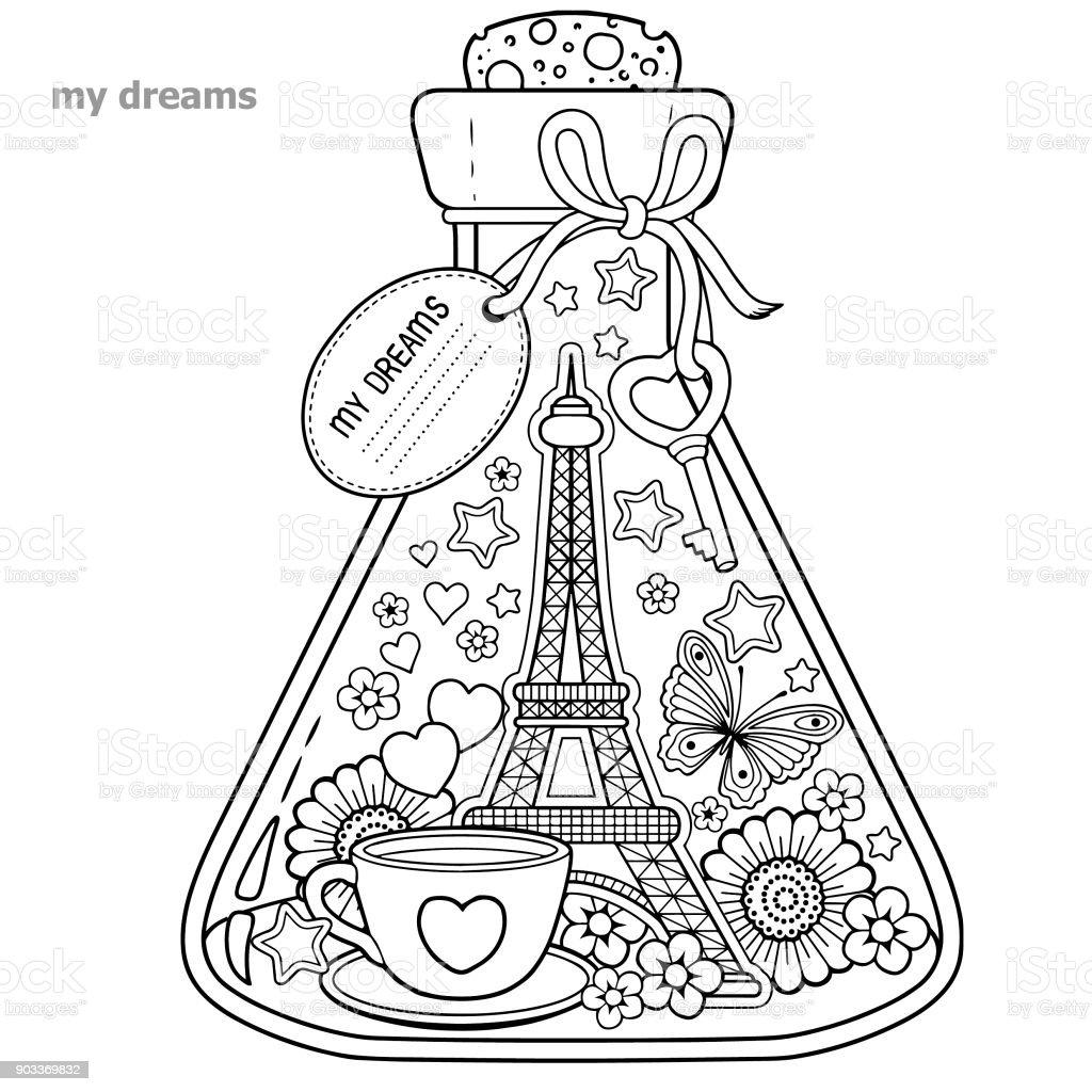 malbuch f r erwachsene ein glasgef mit tr umen von reisen in parisa flasche mit schmetterling. Black Bedroom Furniture Sets. Home Design Ideas