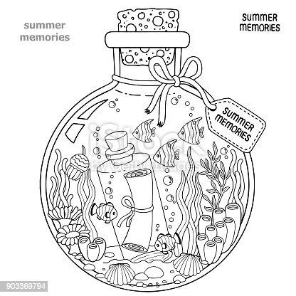 Malbuch Für Erwachsene Ein Glasgefäß Mit Erinnerungen An Sommer Eine ...