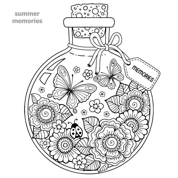 Vectores de Libro Para Colorear Página Ladybugs Y Flores y ...