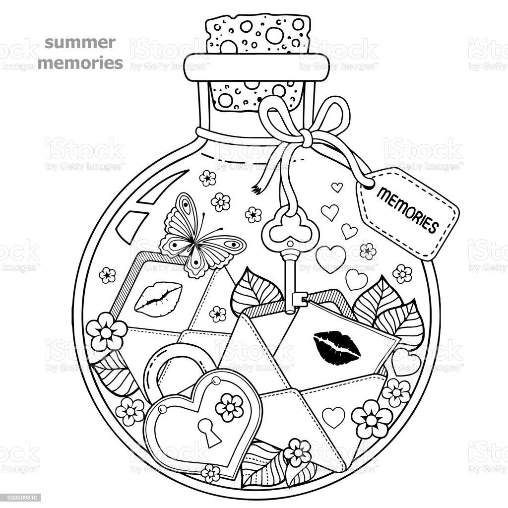 Ilustración de Libro Para Colorear Para Adultos Un Recipiente De ...