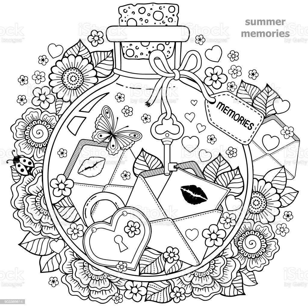 Ilustración De Libro Para Colorear Para Adultos Un