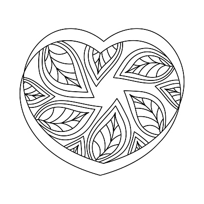 Coloring book for adults and older children. The heart is decorated with leaves .The concept of environmental protection.