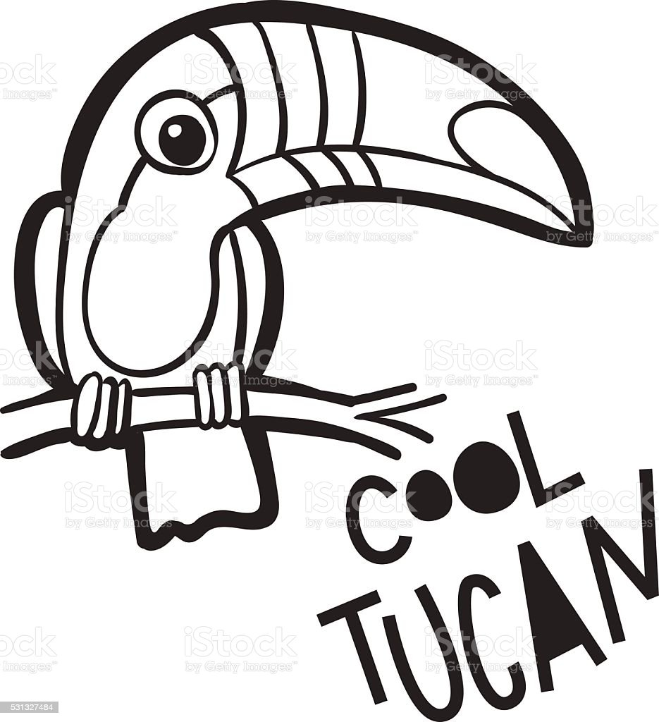 Coloring Book For Adults Bird Toucan In Cartoon Style Royalty Free Stock