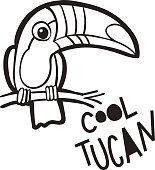 Coloring book  for adults. Bird Toucan,  in cartoon style.