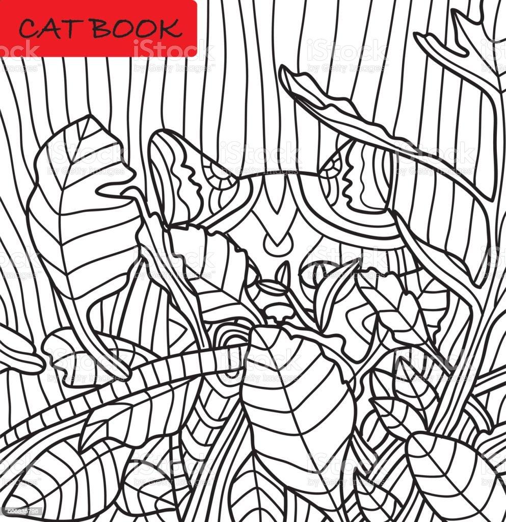 Libro Para Colorear Para Adultos Lindo Gato En La Selva Un Libro ...