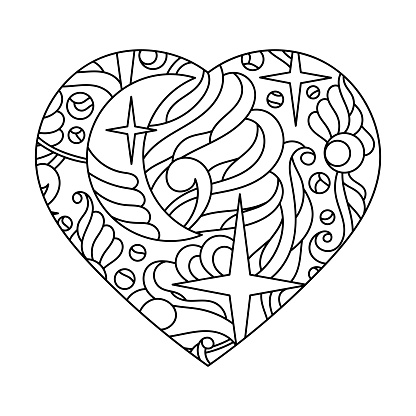 Coloring book for adults. Heart. Moon stars. A hand-drawn Doodle anti-stress Vector illustration.
