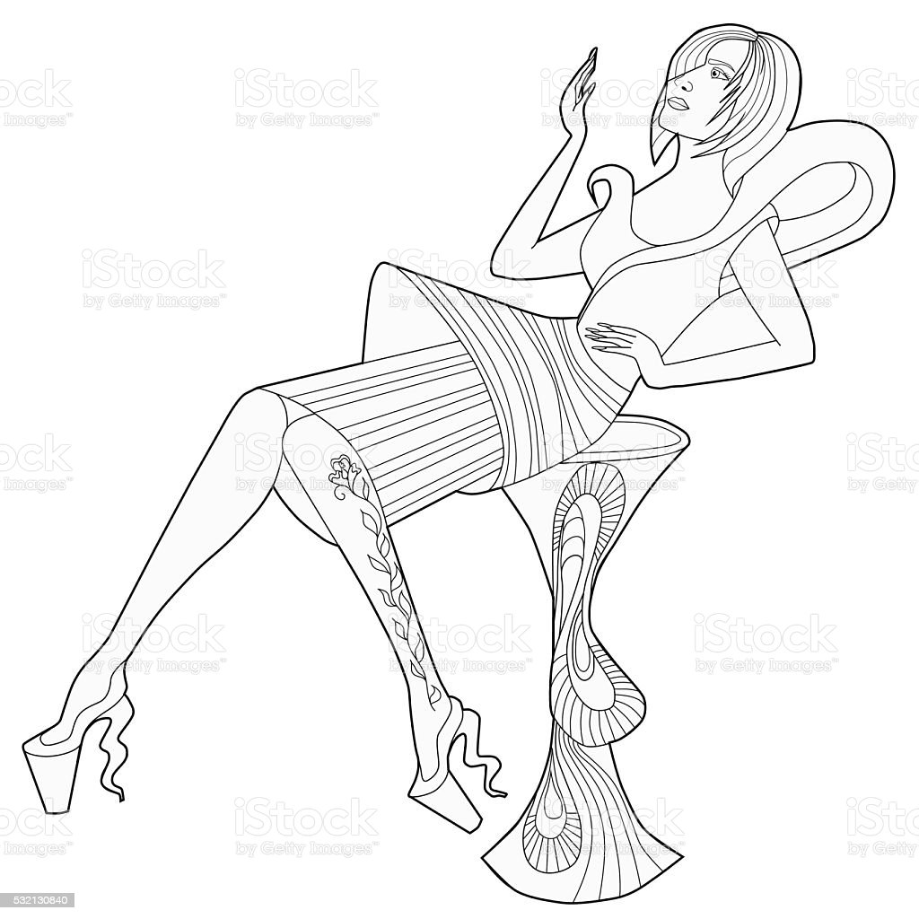 Coloring Book For Adults Sitting Girl In A Dress Royalty Free Stock Vector