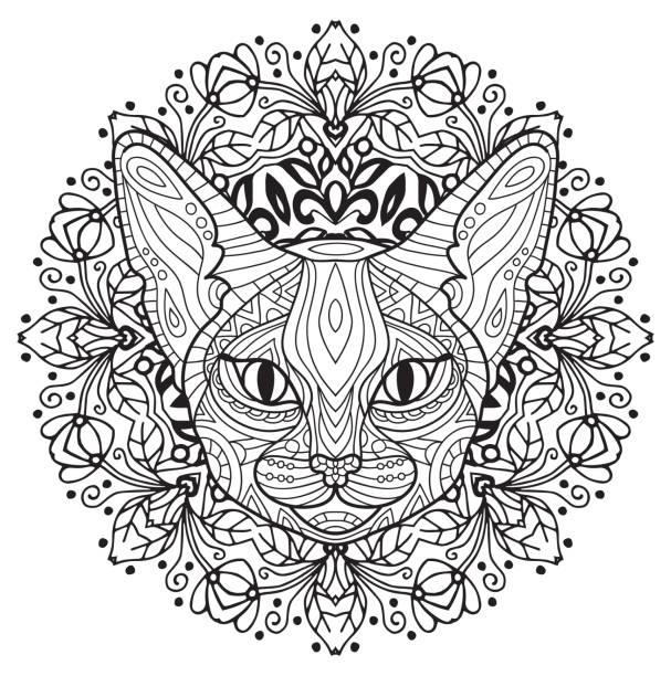 malbuch für erwachsene. der kopf einer geheimnisvollen katze mit einem kreisförmigen muster. katze-frühling. - gartenskulpturkunst stock-grafiken, -clipart, -cartoons und -symbole
