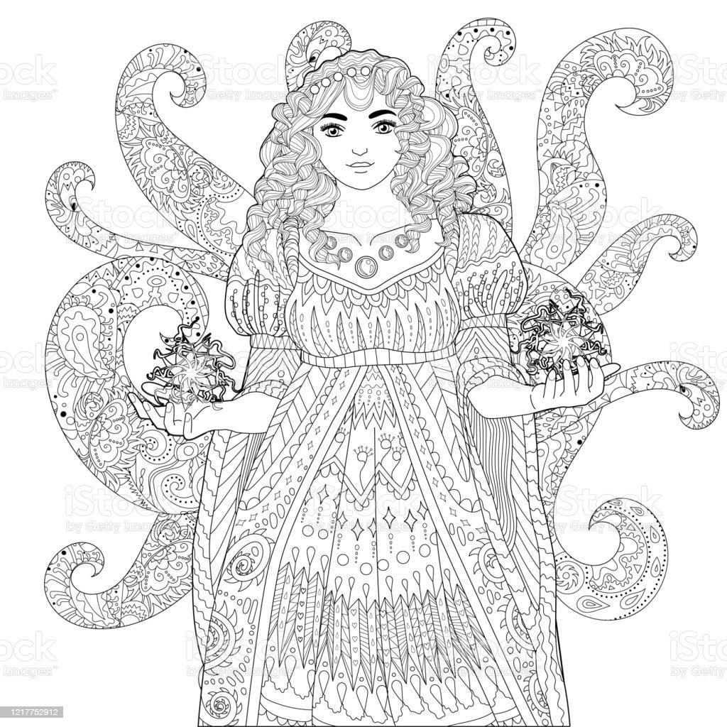 Livre De Coloriage Pour Des Adultes Avec La Belle Dame Medievale Vecteurs Libres De Droits Et Plus D Images Vectorielles De Adulte Istock