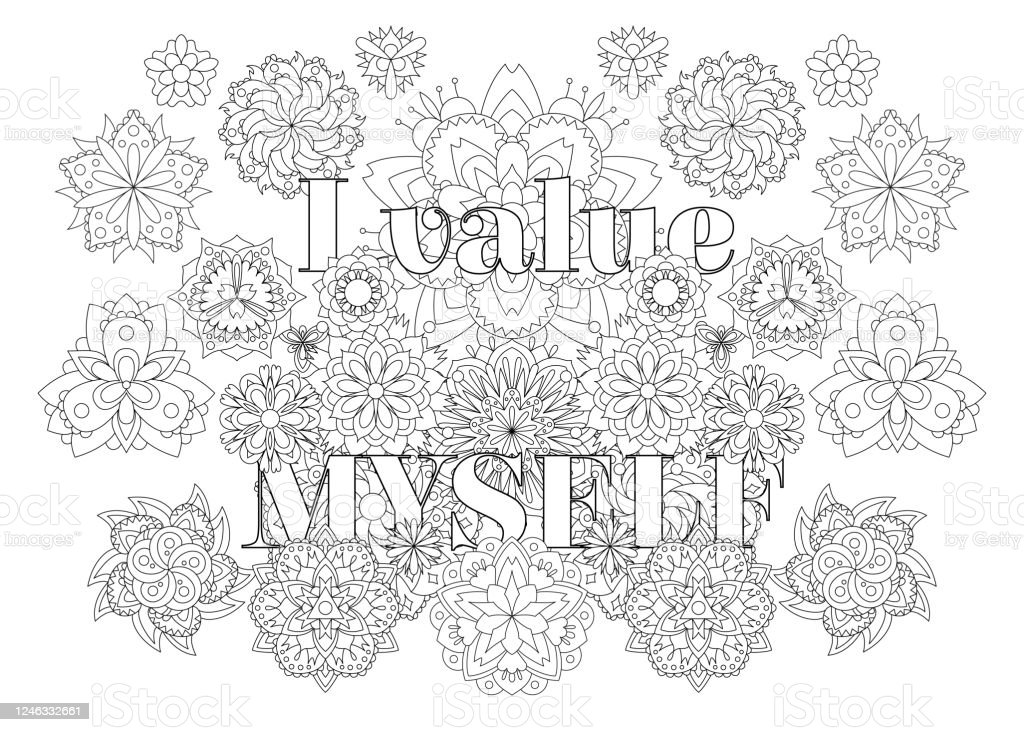 Coloring Book For Adults With Inspirational Quote Stock Illustration -  Download Image Now - IStock