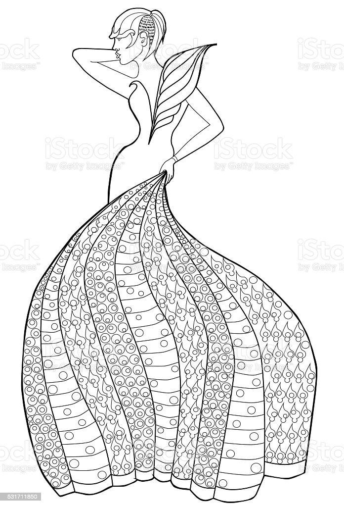 Livre De Coloriage Pour Les Adultes Femme Dans Une Robe Longue