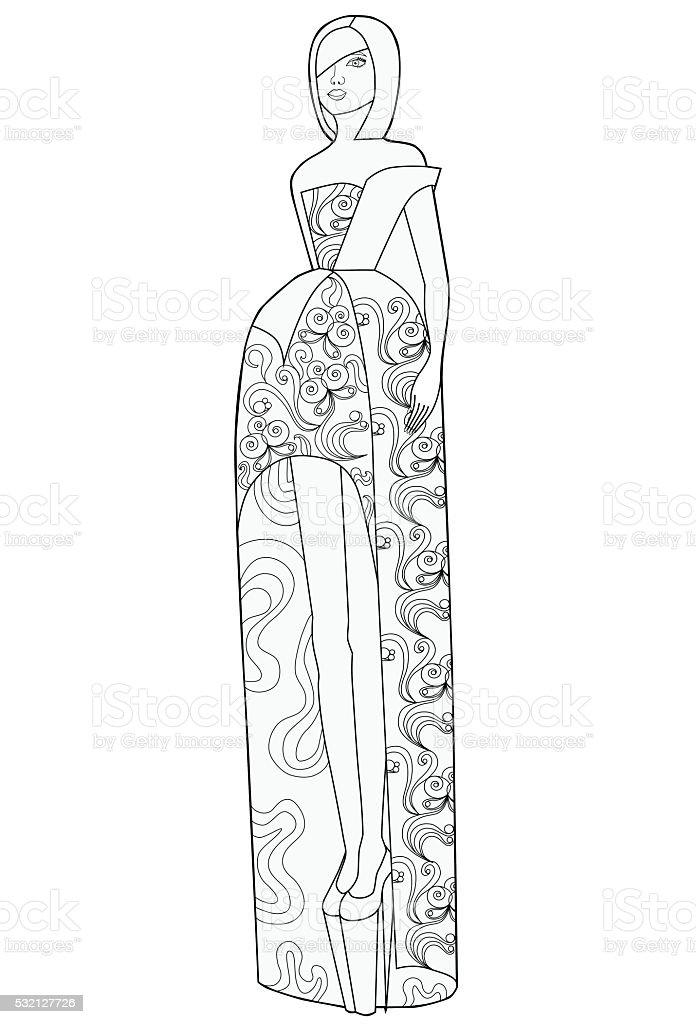 塗り絵の本大人ます女性のロングドレス お絵かきのベクターアート素材