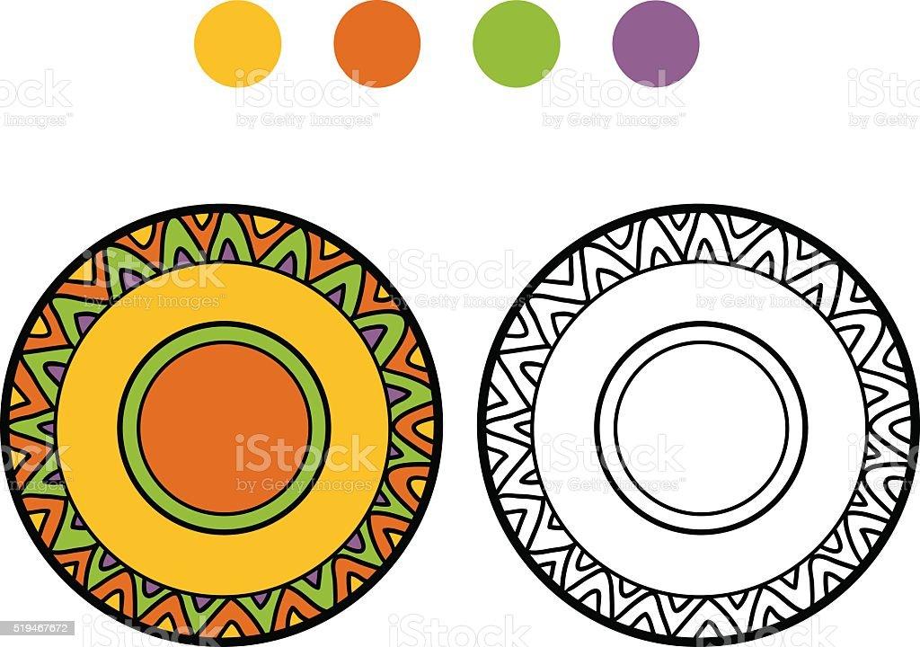 Libro Para Colorear Con Los Niños Placa Con Un Patrón Geométrico ...