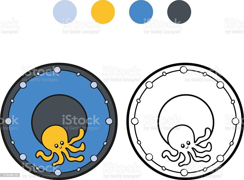 Ilustración de Libro Para Colorear Con Los Niños Una Placa Con Pulpo ...