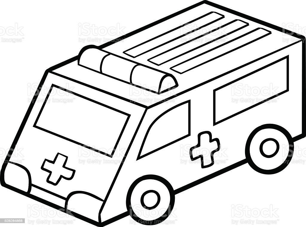 Malbuch Fur Kinder Krankenwagen Auto Stock Vektor Art Und Mehr