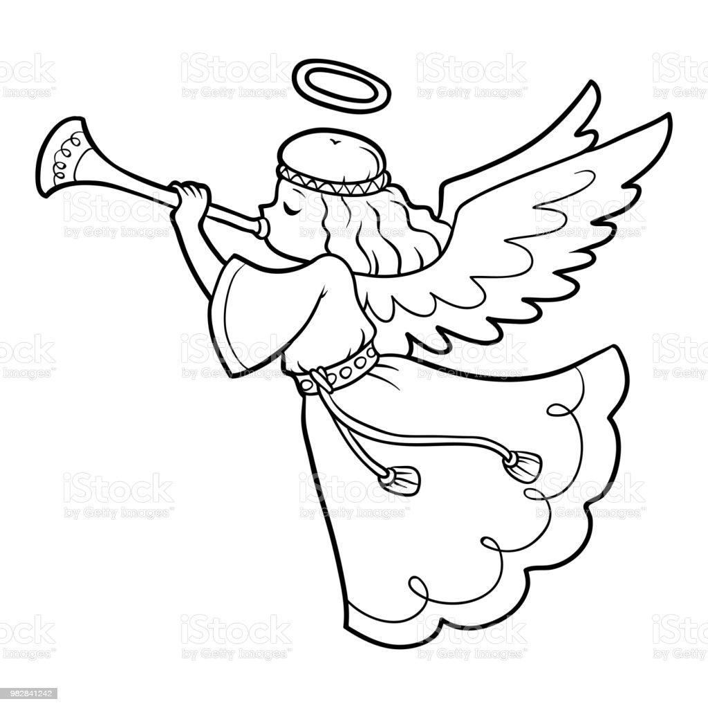 Ilustración De Libro De Colorear Para Niños ángel Y Más