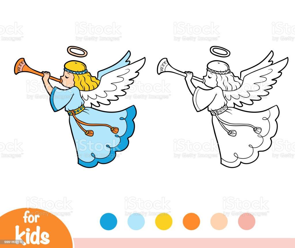 Angel çocuklar Için Boyama Kitabı Stok Vektör Sanatı Anaokulunin