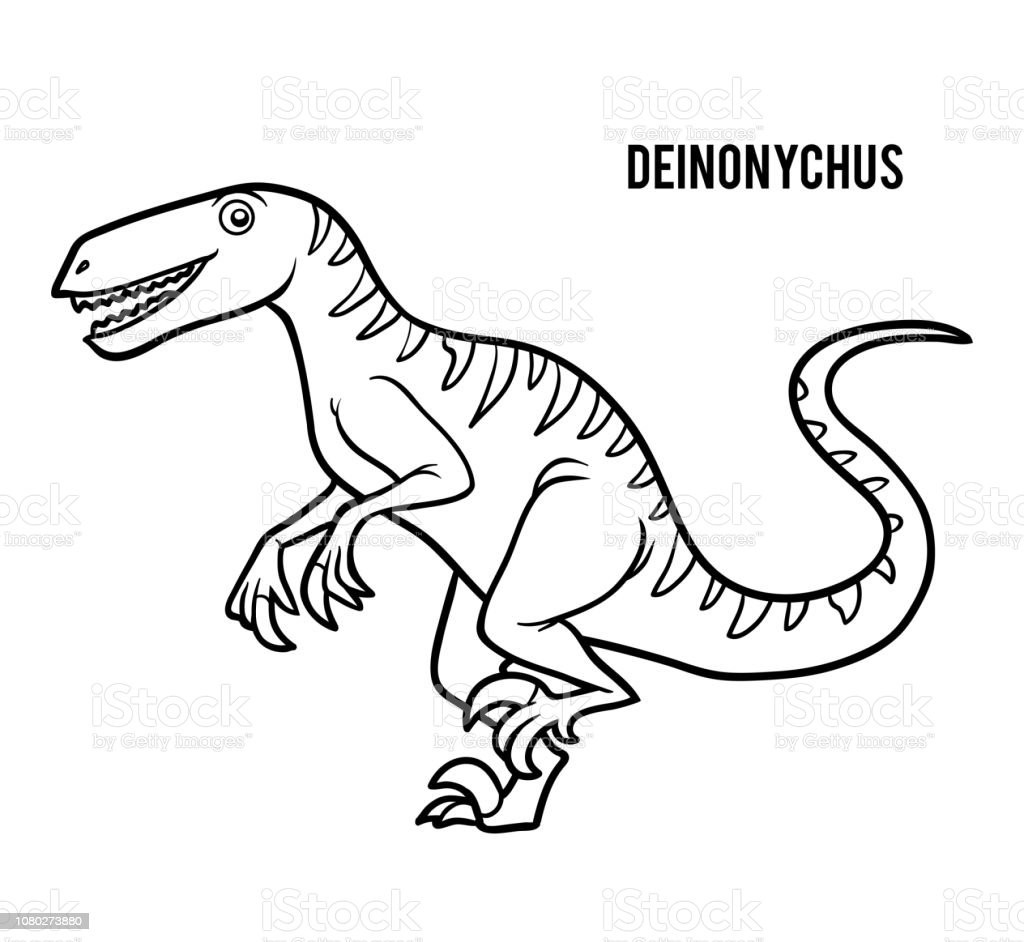 Coloring Book For Children Cartoon Deinonychus Stock Vector Art