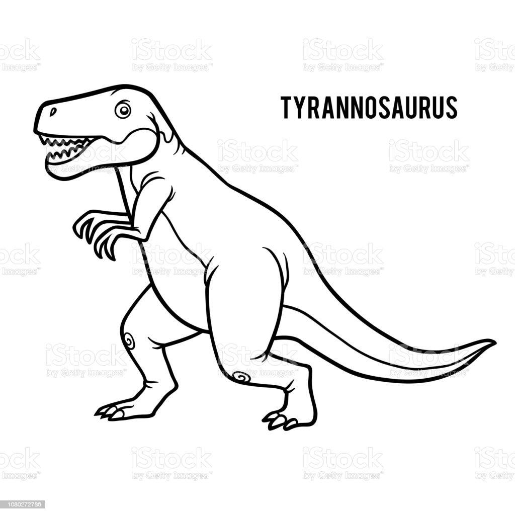 Malbuch Für Kinder Cartoon Tyrannosaurus Stock Vektor Art Und Mehr