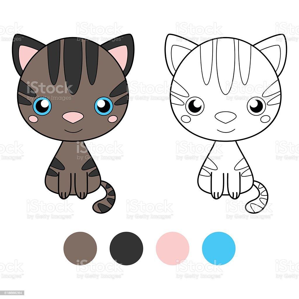 Coloring Book For Children Cat Stock Illustration Download
