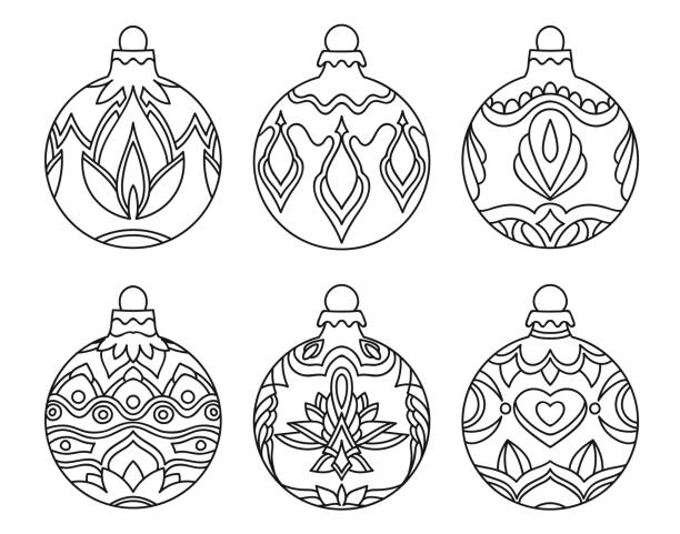 coloring book for children, christmas balls collection - coloring book pages templates stock illustrations