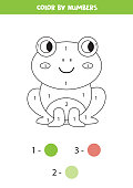 Color cute cartoon comic frog by numbers. Coloring page for kids.