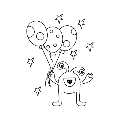 Coloring book for children. Cute cartoon monster with balloons. Black and white vector illustration