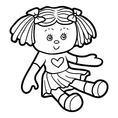 Coloring Book For Children Doll Stock Illustration ...