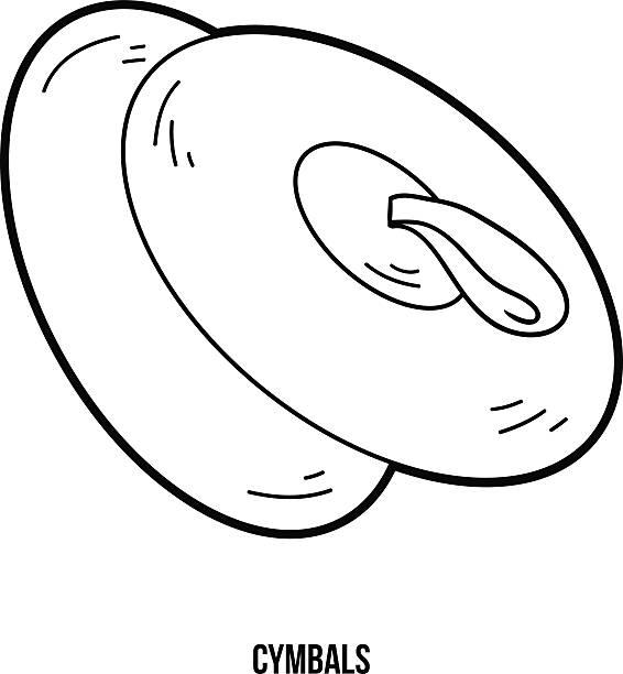 kolorowanka dla dzieci edukacja styl gry: cymbały - talerz perkusyjny stock illustrations