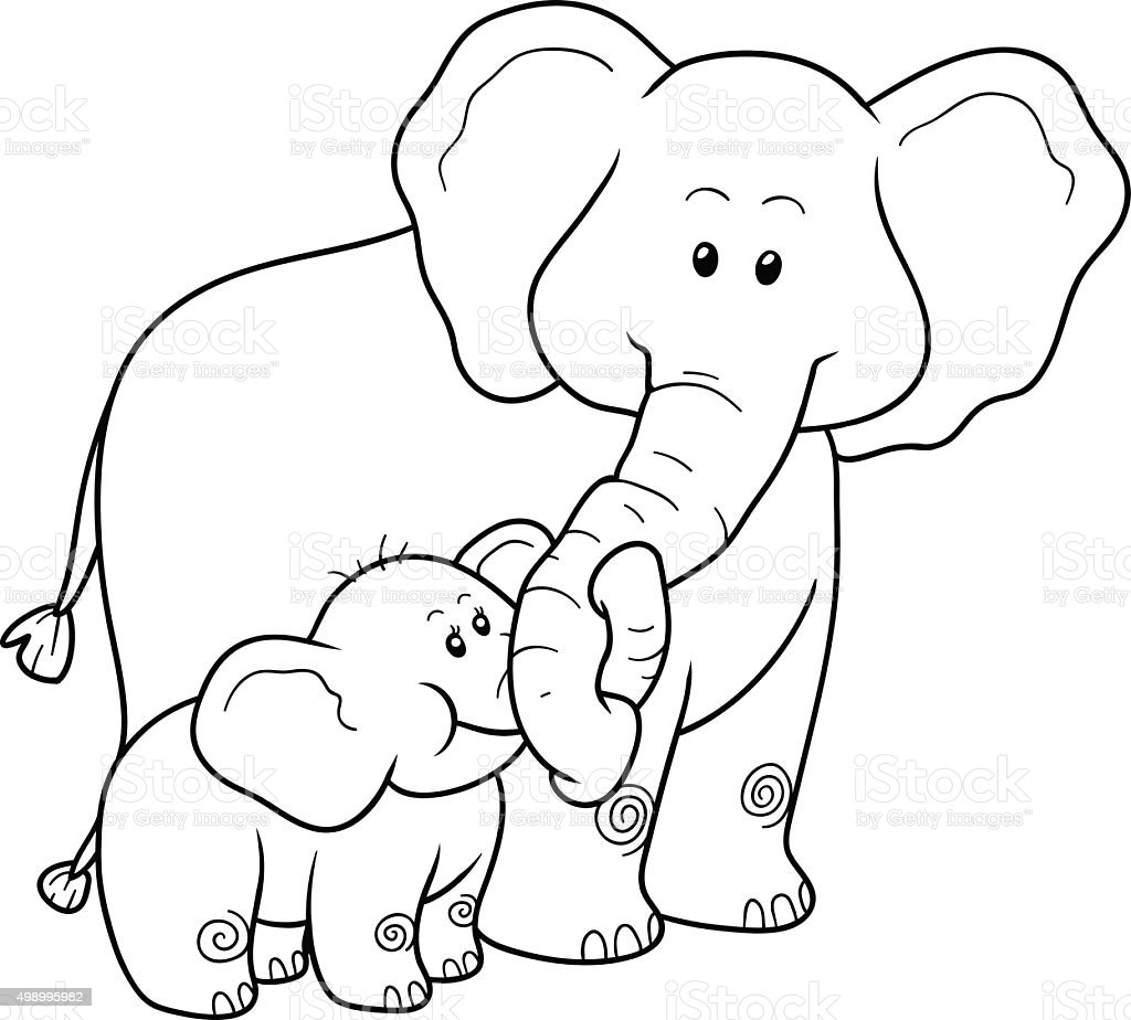 Coloring Book For Children Elephants Stock Illustration ...