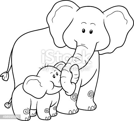 Coloring Book For Children Elephants Stock Vector Art 498995982