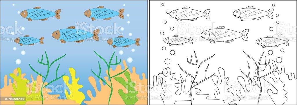 Cocuklar Icin Boyama Kitabi Denizde Yuzmek Balik Cizgi Film Vektor