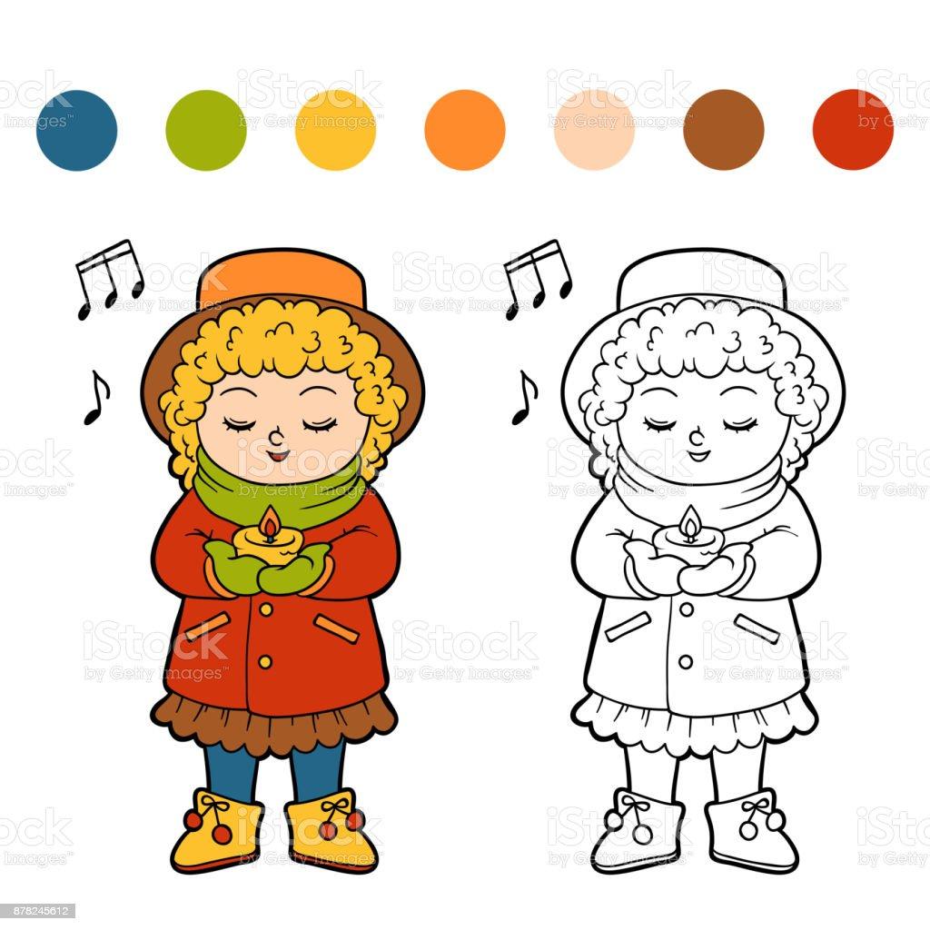 Bir Noel şarkısı şarkı Söyleyen Kız çocuklar Için Boyama Kitabı Stok