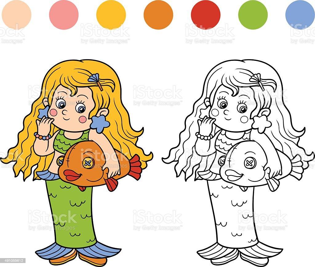 Libro Da Colorare Per Bambini Halloween Caratteri Sirena Immagini